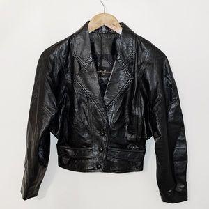 VINTAGE LEATHER BOUND Black Leather Bomber Jacket